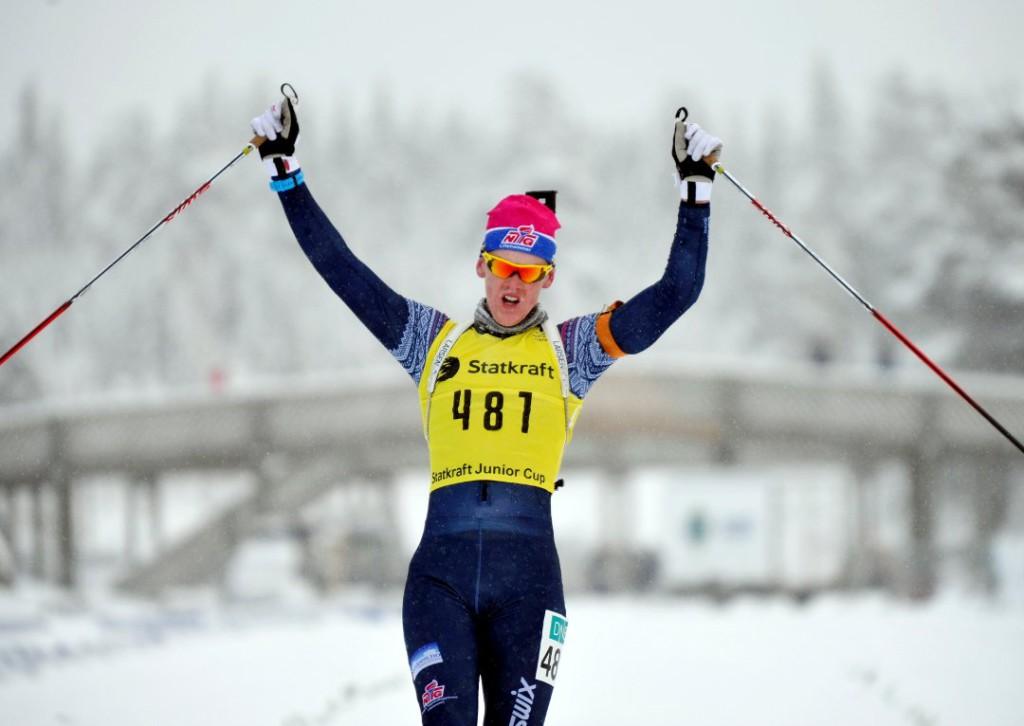 Sivert Bakken jubler for NM Gull på Lillehammer